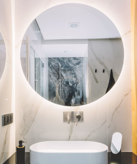 runder Badspiegel mit Beleuchtung